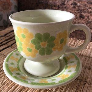 Cottagecore green and yellow coffee mug and saucer